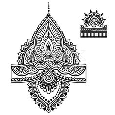 Henna tattoo flower template.Mehndi. royalty-free stock vector art