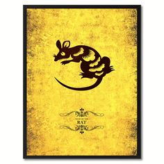 Rat Chinese Zodiac Canvas Print, Black Picture Frame Home Decor Wall Art Gift