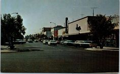 Marysville, CA Postcard Main Street Downtown Scene w/ 1960s dunne's Store Sign