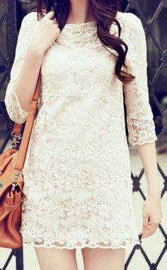 White Round Neck Lace Embroidery Dress.