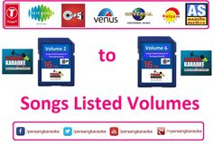 Different Songs Listed Volumes* from Different Music Companies* are available on demand ::: Call Toll Free ::: 1800 200 5830 or Visit Persang Karaoke website ::: www.persang.in (*Terms & Condition Apply)