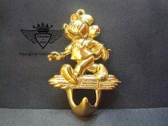 Handtuch-Halter Micky Maus 24 Karat vergoldet.Gold, Gold Plating, 24 K, Vergoldet, Elektro Plating
