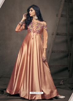 Majestic Peach Color Silk Satin Designer Party Wear Gown Shop For Gowns Online in India at VJV Fashions Available in Exciting Design Colour, Different Sizes Gown Dress Online, Gowns Online, Silk Gown, Satin Gown, Satin Saree, Silk Satin, Stylish Gown, Stylish Suit, Fashion Bazaar