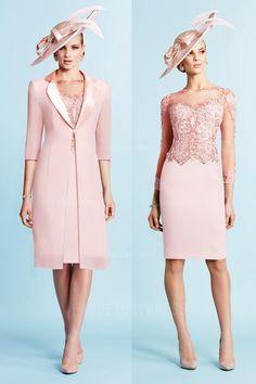 Sheath/Column Jewel Knee-length Lace Satin Mother of the Bride Dress