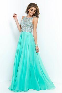 2015 Bateau A Line Prom Dresses With Long Chiffon Skirt Beaded Bodice USD 169.99 EPP73YL8FT - ElleProm.com: