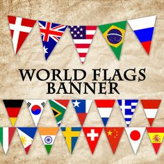 World Flags Printable Banner - Instant Download  Welcome to OldMarket!  This listing is for a PRINTABLE PDF file for the World Flags Banner, as shown. You will receive 3 PDF files, one for each size of banner pieces. You will receive 12 pages with 1 pennant each, measuring approximately 7 x 9, 6 pages with 2 pennants each, measuring approximately 5.45 x 7 and 1 page with 24 pennants, measuring approximately 1.55 x 2. Flags included are the USA, Canada, Mexico, Brazil, China, Japan, England…