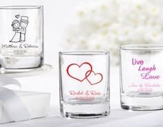 Add some personality to your bridal shower or wedding with our very own personalized shot glass wedding favors. These personalized shot glass wedding favors can be used as either votive holders or as shot glasses. Wedding Favours Shots, Wedding Shot Glasses, Custom Wedding Favours, Personalized Wedding Favors, Unique Wedding Favors, Wedding Ideas, Wedding Stuff, Dream Wedding, Wedding Inspiration
