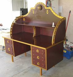 "Modified Steampunk desk. I think I would prefer a bit more woodgrain to the surface if I were to do something similar. And maybe a darker ""brass."""
