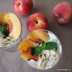 Basil + Mint Peach Parfait #tastefulltuesday #genevieveandjoy #cleaneating  #healthyrecipes #glutenfree