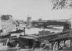 La construction du pont Alexandre-III, vers 1899 (Paris 8ème)