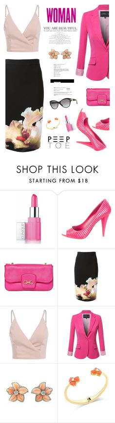 """Woman, You Are Beautiful!"" by nans-g ❤ liked on Polyvore featuring Clinique, Miu Miu, Salvatore Ferragamo, Givenchy, Kate Spade, Versace, WorkWear, Pink and peeptoe"