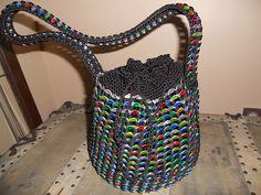 My crocheted draw string Rainbow-Colored Pop Tab Purse.
