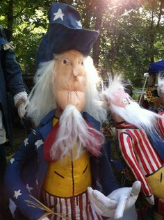 Primitive Folk Art patriotic Uncle Sam Doll
