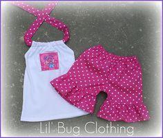 Custom Boutique Elmo Abby Cadabby Pink Polka Dots SHort Halter Top 12 18 24 2t 3t 4t 5t 6 girl