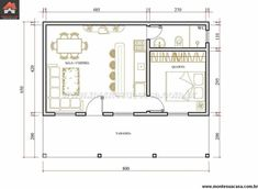 Layouts Casa, House Layouts, Apartment Layout, One Bedroom Apartment, Small House Plans, House Floor Plans, Tyni House, Hotel Room Design, Compact House