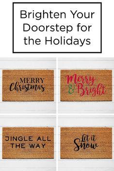 Brighten up your doorstep for the holidays with an Urban Owl holiday doormat! Christmas Doormat, Christmas Rugs, Christmas Craft Fair, Christmas Quotes, Outdoor Christmas, Diy Christmas Gifts, Front Door Christmas Decorations, Christmas Front Doors, Front Door Mats