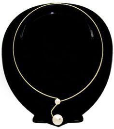 Gargantilha de fio folheada a ouro c/ pérolas e strass   www.imagemfolheados.com.br/?a=17212
