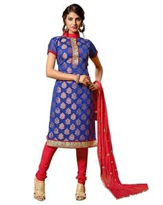 #Vibrant Royal #Blue Colored Embroidered #Dress #Material
