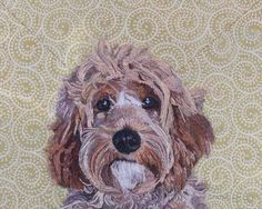 Stacey Chapman: Miss Darcy, Freehand machine embroidery. Background cloth supplied by client to match decor, partially woven with pure gold thread Portrait Background, Freehand Machine Embroidery, Artist Workshop, Sea Crafts, Recycled Fabric, Embedded Image Permalink, Fabric Scraps, Pet Portraits, Your Pet