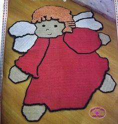 VáriosTapetes Infantis de Crochê Knit Rug, Rugs And Mats, T Shirt Yarn, Applique Patterns, Knitting Accessories, Filet Crochet, Rapunzel, Children, Crafts