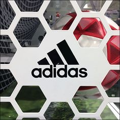 This Adidas Soccer Goal Hexagonal Branding imitates the side netting appearance of an actual goal with much better security. Soccer Store, Store Fixtures, Life Plan, Soccer Ball, Adidas Logo, Branding, Football, Goals, Gym