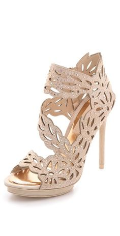 Gorgeous suede cut-out sandals with crystals from BCBG Max Azria