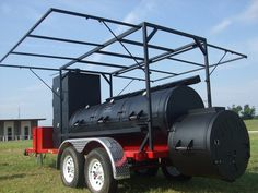 Trailer Mounted Triple Door w/Vertical Smoke Chamber & Canopy. Bbq Smoker Trailer, Bbq Pit Smoker, Barbecue Pit, Trailer Smokers, Custom Bbq Grills, Custom Bbq Pits, Carne Asada, Custom Bbq Smokers, Smoker Designs
