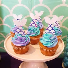 The cupcakes at this Mermaid Birthday Party look delicious!! See more party ideas and share yours at CatchMyParty.com #mermaid #cupcakes