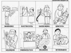Резултат с изображение за imagenes para colorear de profesiones y oficios para unir con una linea Community Helpers Worksheets, Picture Boards, Chapter 16, Preschool Education, Teaching Spanish, Social Science, Social Studies, Vocabulary, Activities For Kids