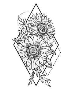 to make temporary tattoo crafts ink tattoo tattoo diy tattoo stickers Sunflower Sketches, Sunflower Drawing, Sunflower Tattoos, Sunflower Tattoo Design, Sunflower Mandala Tattoo, Sunflower Illustration, Stencils Tatuagem, Tatuagem Diy, Diy Tattoo