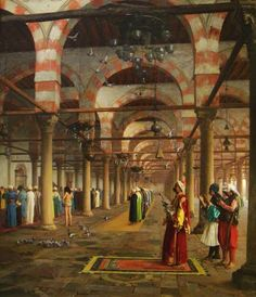 Jean-Leon Gerome, 'Prayer in the Mosque' The scene depicts the interior of the mosque of Amr in Cairo. Gerome visited Egypt in Islamic World, Islamic Art, Art Arabe, Istanbul, Portrait Photos, Jean Leon, Art Et Architecture, Empire Ottoman, Islamic Paintings
