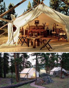 glamping = glamorous camping. Resort style camping in Montana. horseback riding, ATV rides, white water rafting, fly fishing, hiking, hot air ballooning...all while eating well and sleeping comfortably. sign me up!