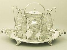 Sterling Silver and Cut Glass Cruet Service by Paul Storr - Antique Georgian