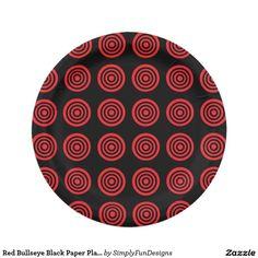 Red Bullseye Black Paper Plates 7 Inch Paper Plate