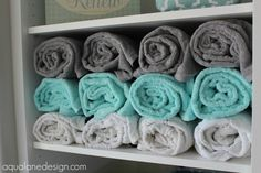 Gray And Aqua Bathroom Master bath towel storage Aqua Bathroom Decor, Teal Bathroom Accessories, Turquoise Bathroom, Bathroom Spa, Budget Bathroom, Grey Bathrooms, Bathroom Towels, Bathroom Colors, Master Bathroom