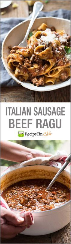 Take your basic meat sauce to the next level with the addition of Italian sausages to create an incredible Italian Sausage & Beef Ragu pasta! It's easy, rich an