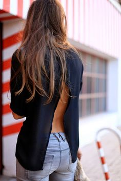 Open back top + cute jeans