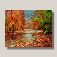 """Embrace of Autumn"" ... YARY DLUHOS Autumn Colors River Trees Fall Leaves Original Modern Oil Painting - #Impressionism"