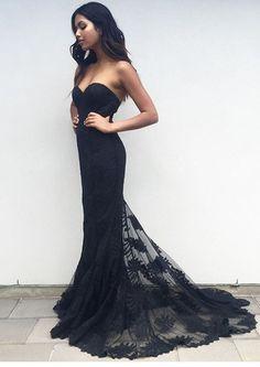 Charming Black Sweetheart Neck Lace Train Long Prom Dress, Black Evening Dress, New Arrival Prom Dress, Mermaid Prom Dress, Formal Dresses