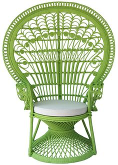 Peacock rattan chair apple green color type : WN108RN