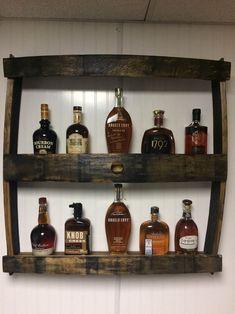 Great for Man Caves. Man Cave Diy, Man Cave Home Bar, Man Cave Garage, Man Cave Items, Barrel Projects, Wood Projects, Bottle Display, Barrel Furniture, Bourbon Barrel