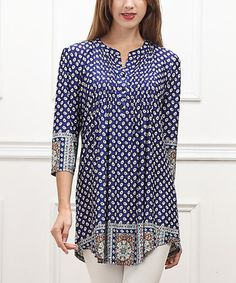 Look at this #zulilyfind! Navy Dot Border Notch Neck Tunic - Women by Reborn Collection #zulilyfinds