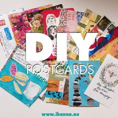 One hundred DIY Postcards bound for Sweden – iHanna's Blog Diy Postcard, Love Mail, Bubble Letters, Rolodex, Wool Embroidery, Happy Mail, Mail Art, Flower Petals, Atc