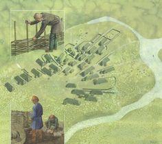Landsbyen Feddersen Wierde, Niedersachsen 3.årh. e. Kr. – Die Wurt Feddersen Wierde, Niedersachsen 3. Jahrhundert n. Chr. – Village Feddersen Wierde, Niedersachsen 3 th century AD