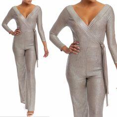 5d4f32a46255 V Neck Silver Jumpsuit. nativa boutique