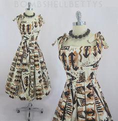 MAN OH MAN!! --- Vintage 50s Shaheen Hawaiian Shell Tie Shoulder Tiki Swing Skirt Party Dress S | eBay