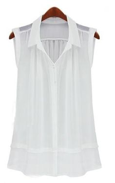 To find out about the White Lapel Sleeveless Ruffles Buttons Blouse at SHEIN, part of our latest Blouses ready to shop online today! Sewing Blouses, White Sleeveless Blouse, Loose Shirts, White Shirts, Work Wardrobe, Mode Style, Shirt Blouses, Chiffon Blouses, Chiffon Shirt
