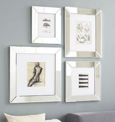 Check out how cool this #wall #grouping looks using #mirror #frames!