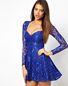 Oh My Love Lace Skater Dress with Sweetheart Neckline If only I could pull it off...