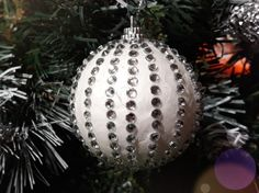 DIY Christmas tree ornament  with styrofoam ball and decorated crystal sticker.